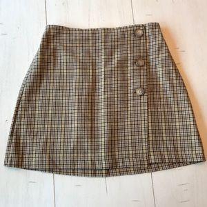 Plaid mini wrap skirt